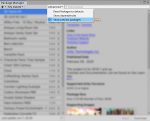 A picture showing where to enable preview packages in Unity.