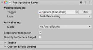 A picture showing how to add the post-process volume component in the post-process layer.