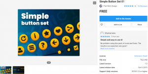 A picture showing the Simple Button Set in the Unity Asset Store.
