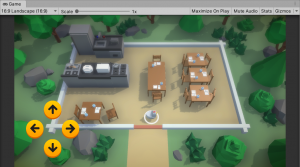 A picture showing the placement of the buttons in the game scene.