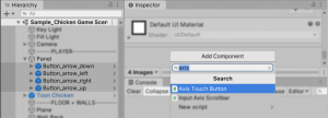 A picture showing how to add the Axis Touch Button script to the buttons.