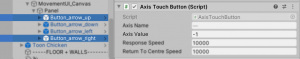 A picture showing the Axis Value variable for up and right buttons.