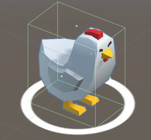 A picture showing the chicken prefab with a ring under it.