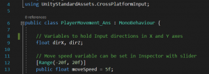 A picture showing the code declaring the variables and dependencies.