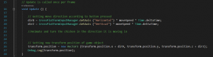 A picture showing the code to add in the Update function.