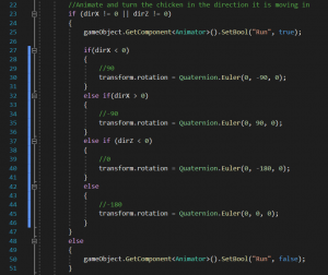 A picture showing the code to be added in the Update.