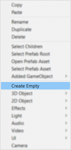 A picture showing how to create an empty game object.