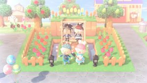 A picture showing our characters in the game, Animal Crossing New Horizons.