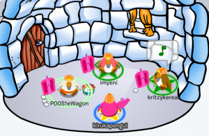 A picture showing our penguin characters in the game, Club Penguin.